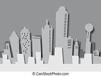 Cartoon skyline of Dallas Texas as paper cutout.