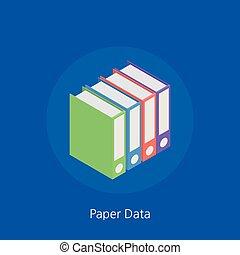 Paper data concept design 3d isometric vector illustration