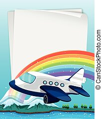 Paper design with airplane flying