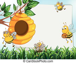 Paper design with bees and beehive