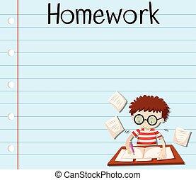 Paper design with boy doing homework