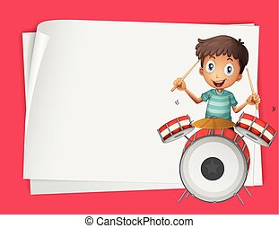 Paper design with boy playing drums
