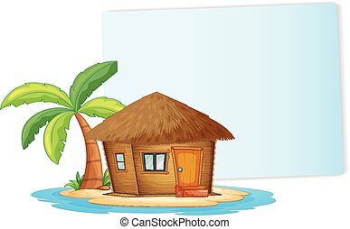 Paper design with bungalow on the island
