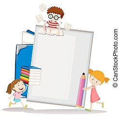Paper design with children and books