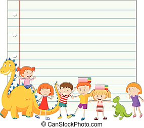 Paper design with children and dinosaur