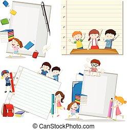 Paper design with children at school