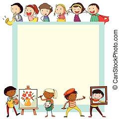 Paper design with children doing activities