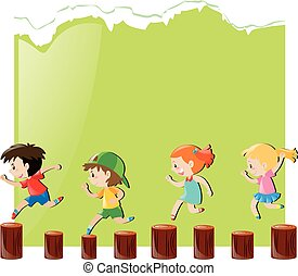 Paper design with children jumping on logs