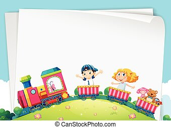 Paper design with children on the train