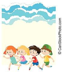 Paper design with children running around