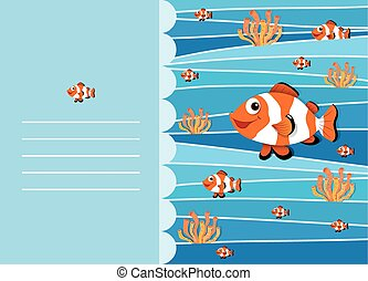Paper design with clownfish swimming