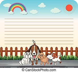 Paper design with cute dogs