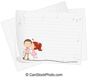 Paper design with girl kissing boy