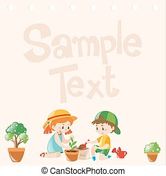 Paper design with kids planting trees