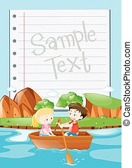 Paper design with kids rowing boat background