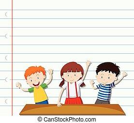 Paper design with three children