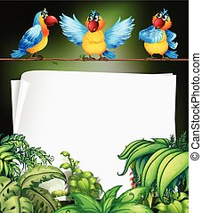Paper design with three parrots on branch