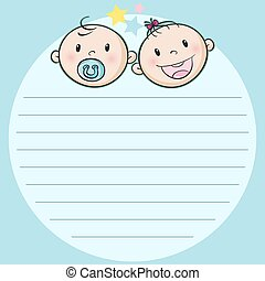 Paper design with two babies