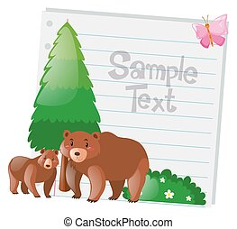 Paper design with two bears