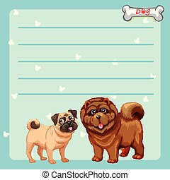 Paper design with two cute dogs
