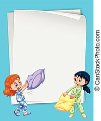 Paper design with two girls in pajamas