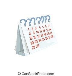 Paper desktop calendar cartoon vector Illustration