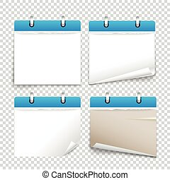 Paper diary on transparent background vector collection. Template for a text