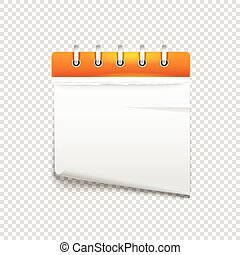 Paper diary on transparent background vector mockup. Template for a text