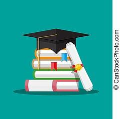 Paper diploma with stamp, books and graduation cap