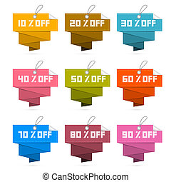Paper Discount Labels, Tags Isolated on White Background