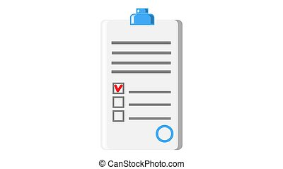 Paper document application form contract with seal and abstract text icon on white background. Vector illustration