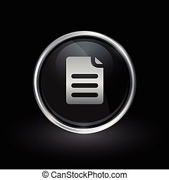 Paper document icon inside round silver and black emblem
