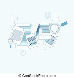 Paper Document Search Magnifying Glass Paperwork Business