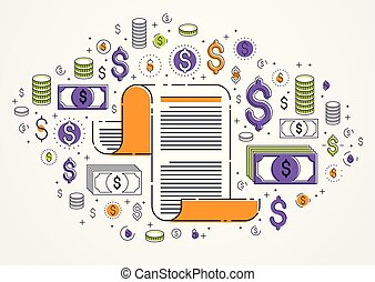 Paper document with icon set, electronic documentation...