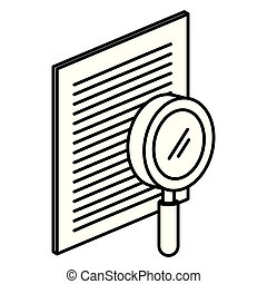 paper document with magnifying glass isometric icon
