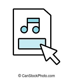 paper document with music note and arrow index line and fill style icon