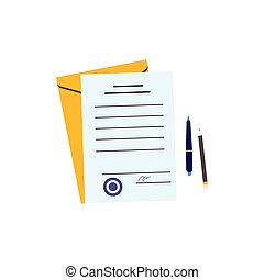 Paper document, yellow envelope and pen and paper - flat ...