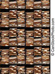 Paper documents stacked in archive multi version