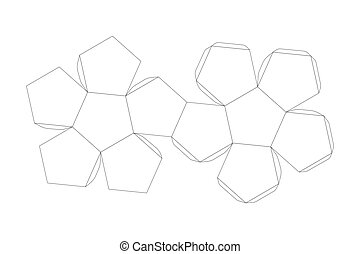 Paper dodecahedron template, trim scheme isolated on white
