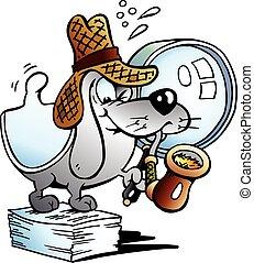 Paper Dog Detective Mascot