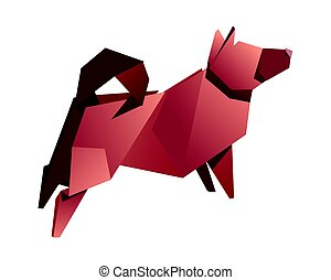 paper dog on a white background. symbol 2018. vector illustration