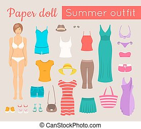 Paper doll game for girl. Vector flat style illustration. Cut out a figure of a young beautiful girl and dress her up in fashionable casual summer clothes and footwear. Women summer vacation wardrobe