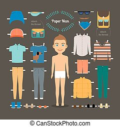 Paper doll man template. Shoes and jacket, model doll, paper clothing and dress. Vector illustration