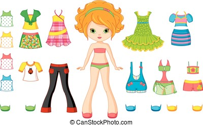 Paper Doll - Paper doll with set of summer clothes