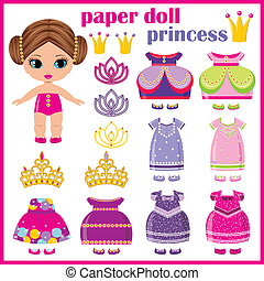 Paper doll princess with a set of clothes. vector