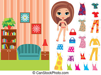 Paper doll with a set