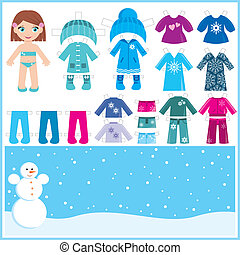 Paper doll with a set of winter clo