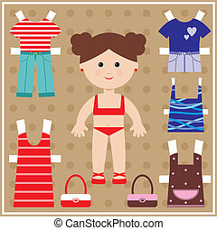 Paper doll with clothes set - Vector illustration. It is ...