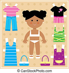 Paper doll with clothes set - Vector illustration. It is...