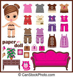 Paper doll with clothes set. vector